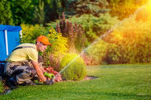 Garden Watering Systems. Garden Technician Testing Watering Sprinkler System in the Residential Garden.